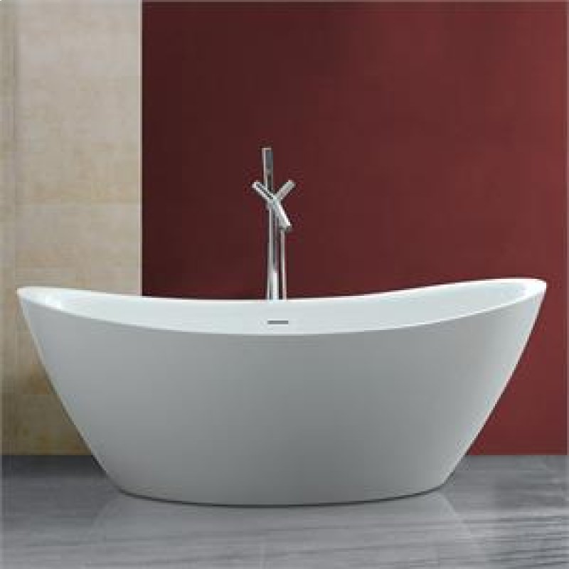 Maidstone Sunrise 71 Inch Acrylic Double Slipper Freestanding Tub No Faucet Drillings White Hidden