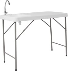 23''W x 45''L Granite White Plastic Folding Table with Sink