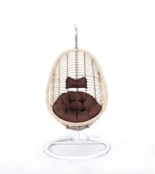 Complete Swing Basket W/cushion-frame-base Spunpolyester Brown #e011-cream Wicker Frame