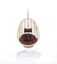 Complete Swing Basket W/cushion-frame-base Spunpolyester Brown #e011-cream Wicker Frame