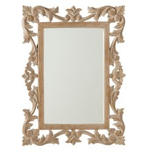 Natural Whitewash Rectangle Carved Wall Mirror.