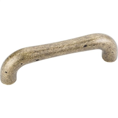 """4-1/4"""" Overall Length Weathered Cabinet Pull. Holes are 96 mm center-to-center."""