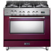 "Burgundy 36"" Dual Fuel Single Oven Range - Prestige Series"