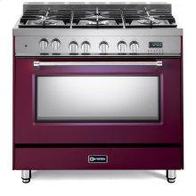 "Burgundy 36"" Dual Fuel Single Oven Range - Prestige Series"