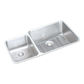 """Elkay Lustertone Classic Stainless Steel 35-1/4"""" x 20-1/2"""" x 9-7/8"""", Offset 40/60 Double Bowl Undermount Sink Kit"""