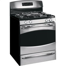 GE Profile Free-Standing Self-Clean Gas Range (This is a Stock Photo, actual unit (s) appearance may contain cosmetic blemishes. Please call store if you would like actual pictures). This unit carries our 6 month warranty, MANUFACTURER WARRANTY and REBATE NOT VALID with this item. ISI 33555