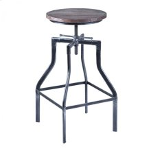 Armen Living Concord Adjustable Barstool in Industrial Gray Finish with Ash Pine Wood seat