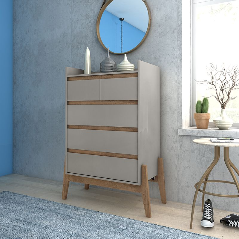 """Essence 48.23"""" Tall Dresser with 5 Full Extension Drawers in Grey"""