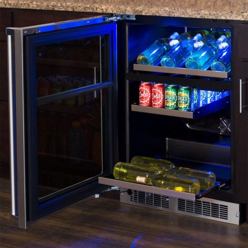 "Marvel Professional 24"" Dual Zone Wine and Beverage Center - Stainless Frame, Glass Door With Lock - Integrated Right Hinge, Professional Handle"