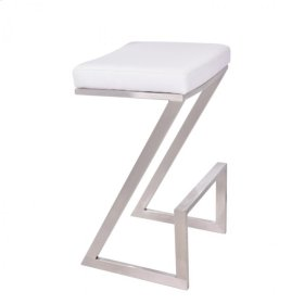 "Armen Living Atlantis 30"" Backless Barstool in Brushed Stainless Steel finish with White Pu upholstery"