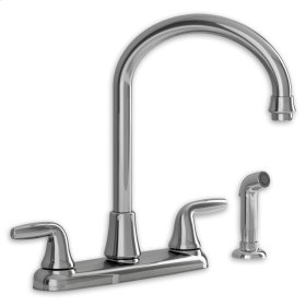 Jocelyn 2-Handle High-Arc Kitchen Faucet with Separate Side Spray - Stainless Steel