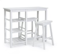 Counter Table with Two Stools - Distressed Chalk White Finish Product Image