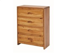 Heartland Flat Top 4 Drawer Chest with options: Honey Pine