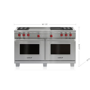 "Wolf60"" Dual Fuel Range - 4 Burners, Infrared Charbroiler and French Top"