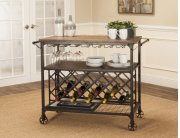 Sunset Trading Rustic Elm Industrial Wine Cart - Sunset Trading Product Image