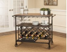 Sunset Trading Rustic Elm Industrial Wine Cart - Sunset Trading