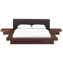 Freja 3 Piece Queen Fabric Bedroom Set in Walnut Latte