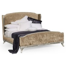 Cali King Louis XV Silver-Leaf Bed, Upholstered in Calico Velvet