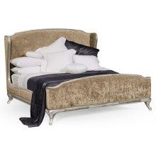 Cali King Louis XV Silver-Leaf Bed, Upholstered in Calico Velvet