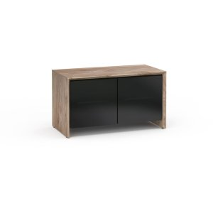 Salamander DesignsBarcelona 221, Twin-Width AV Cabinet, Natural Walnut with Black Glass Doors