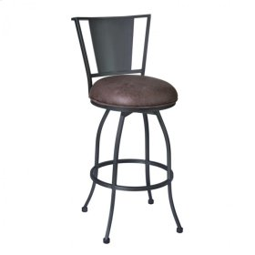 """Armen Living Dynasty 30"""" Barstool in Mineral finish with Bandero Tobacco upholstery"""