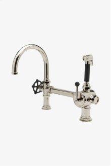 Regulator Gooseneck Single Spout Kitchen Faucet, Black Wheel Handle and Spray STYLE: RGKM20