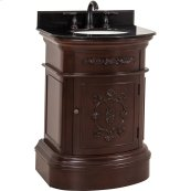 "26"" vanity with merlot finish and carved floral details, elegant curves with preassembled top and bowl."