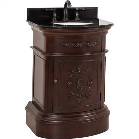 """26"""" vanity with Merlot finish, carved floral details, and elegant curves with preassembled top and bowl."""