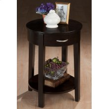 "18"" Round Chairside Table W/drawer and Shelf"