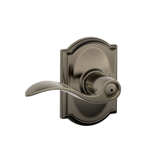 Accent Lever with Camelot trim Bed & Bath Lock - Antique Pewter