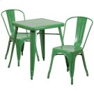 23.75'' Square Green Metal Indoor-Outdoor Table Set with 2 Stack Chairs Product Image