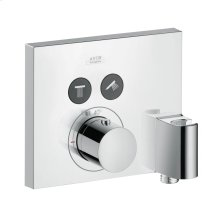 Chrome Thermostat for concealed installation square for 2 functions with wall outlet and shower holder