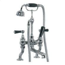 "Classic deck mounted bath shower mixer (3/4"") with black levers"