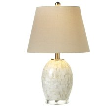White Capiz Round Table Lamp. 60W Max.