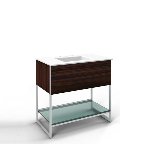 """Adorn 36-1/4"""" X 34-3/4"""" X 21"""" Vanity In Indian Rosewood With Push-to-open Plumbing Drawer, Towel Bar On Right Side, Legs In Brushed Aluminum and 37"""" Stone Vanity Top In Quartz White With Integrated Center Mount Sink and 8"""" Widespread Faucet Holes"""