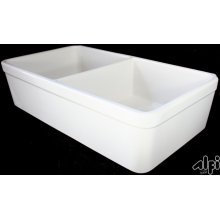 """Biscuit 32"""" Double Bowl Fireclay Farmhouse Kitchen Sink with 1 3/4"""" Lip"""