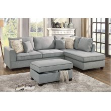 Light Grey Reversible Sectional with Storage Ottoman Included