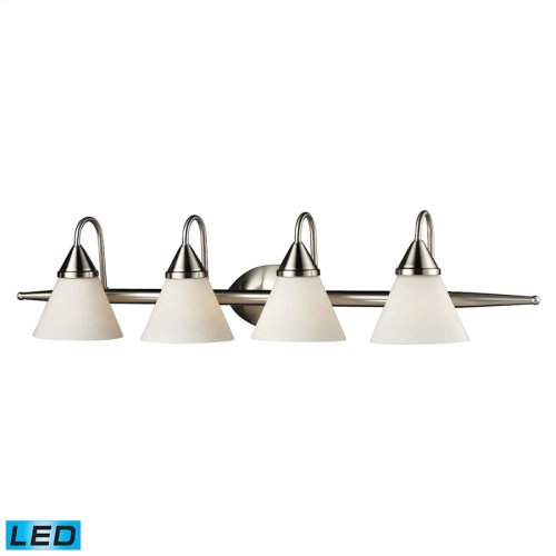 4Light Glass Bath Bar in Satin Nickel Finish - LED, 800 Lumens (3200 Lumens Total) with Full Scale D
