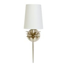 Silver Leaf One Arm Sconce With 3 Layer Leaf Motif & White Linen Shade.