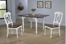 Sunset Trading 3 Piece Drop Leaf Dining Set in Antique White with Chestnut Top with Napoleon Chairs