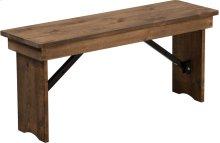 HERCULES Series 40'' x 12'' Antique Rustic Solid Pine Folding Farm Bench