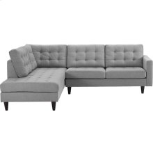 Empress 2 Piece Upholstered Fabric Left Facing Bumper Sectional in Light Gray