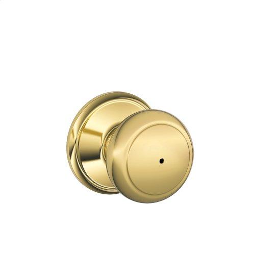 Andover Knob Bed & Bath Lock - Bright Brass