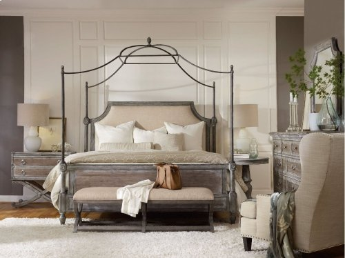 True Vintage Queen Fabric Upholstered Canopy Bed