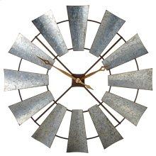 Galvanized Windmill Wall Clock.