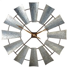 Galvanized Windmill Wall Clock.