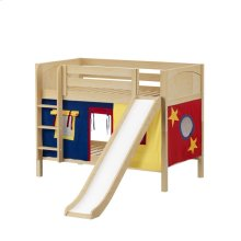 Low Bunk Bed with Straight Ladder, Slide & Curtain : Twin : Natural : Panel