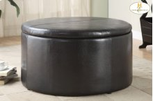 Round Storage Cocktail Table with Two Tear-Drop Ottomans