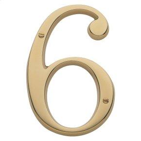 Lifetime Polished Brass House Number - 6