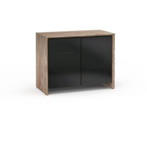 Salamander DesignsBarcelona 323, Twin-Width AV Cabinet, Natural Walnut with Black Glass Doors